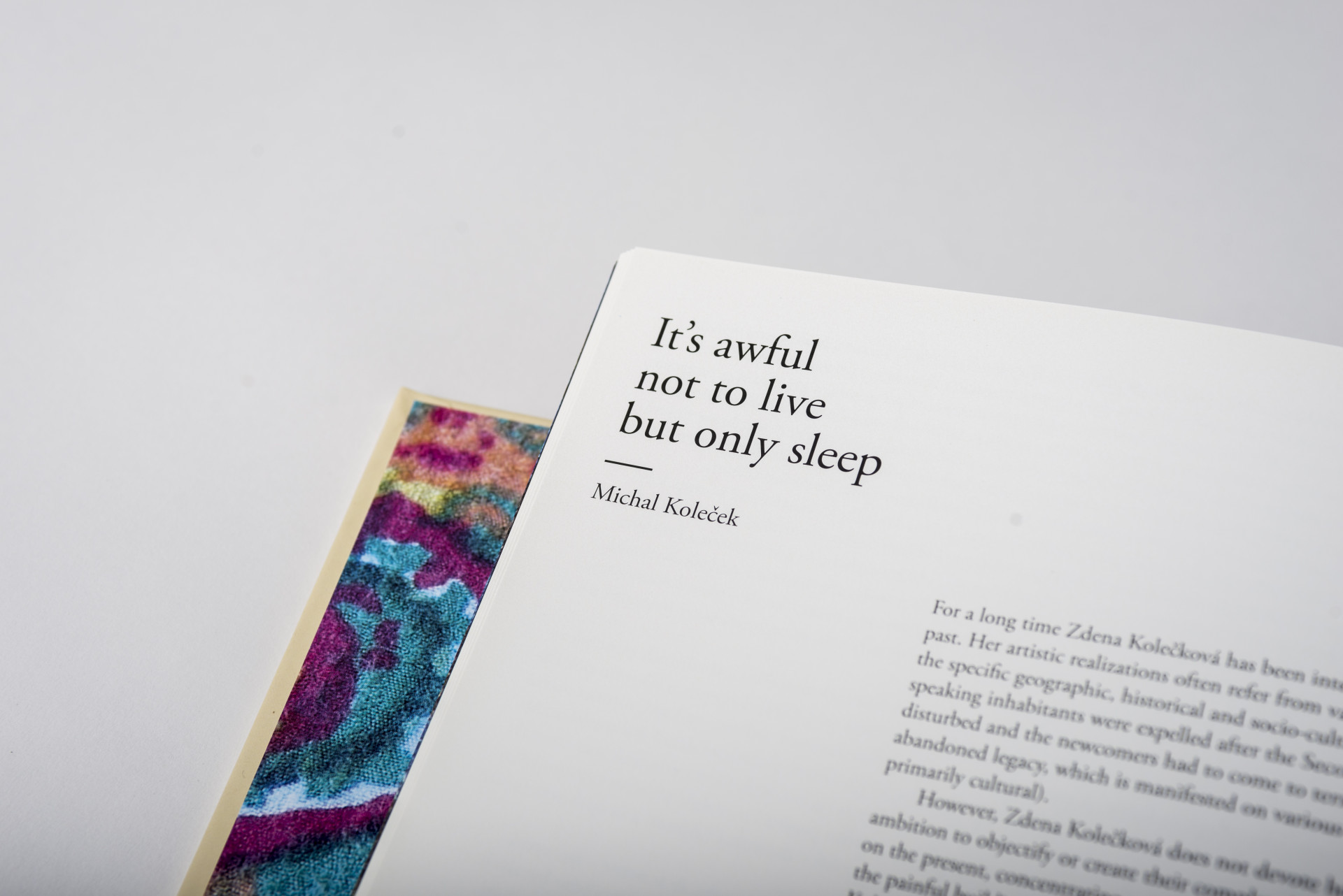 It´s awful not to live but only sleep. Zdena Kolečková. Edice FUD. Foto Dany Vigil